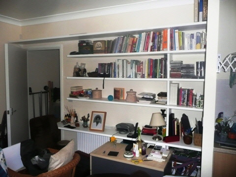office desk and storage